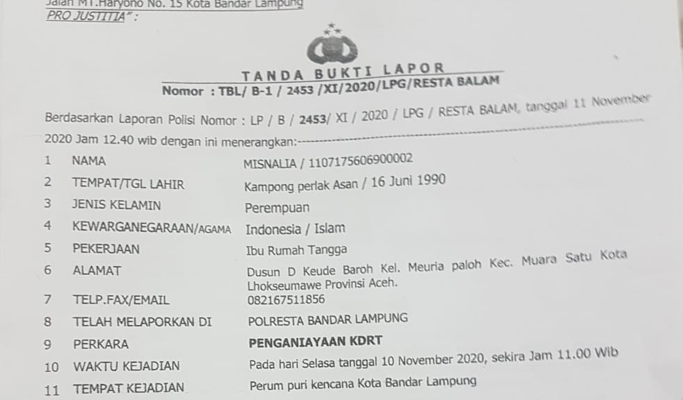 Aniaya Istri Siri, Pegawai Bank Indonesia Dilaporkan ke Polresta Bandar Lampung