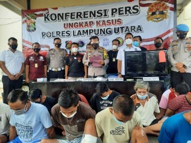 Jelang Ramadhan, Polres Lampung Utara Ringkus 13 Tersangka Penjahat, 4 Orang di Dor