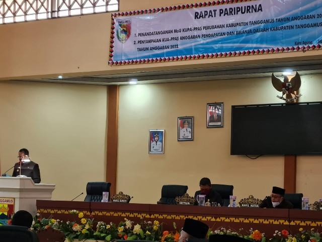 DPRD Gelar Paripurna Penyampaian Rancangan KUA dan PPAS Kabupaten Tanggamus Tahun 2022