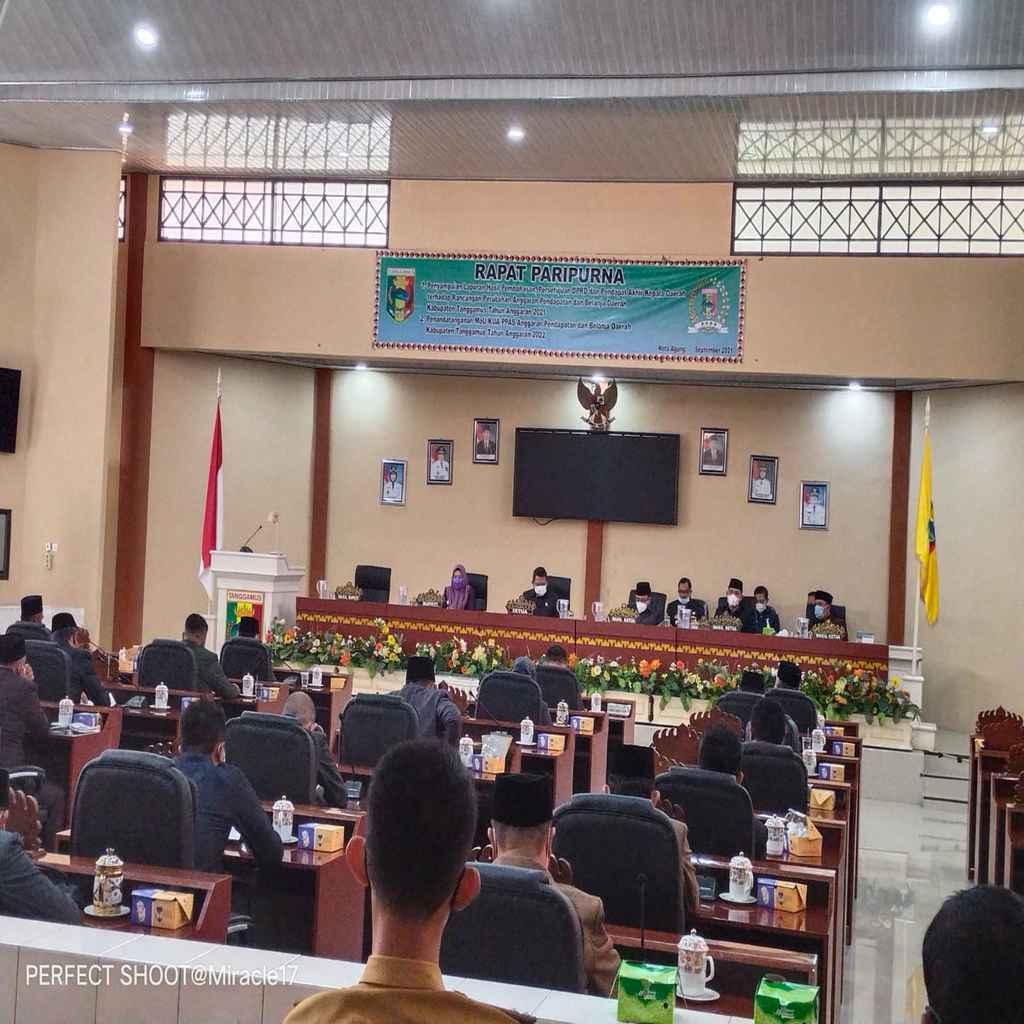 DPRD Paripurna Penyampaian Hasil Akhir Pembahasan, Persetujuan, dan Pendapat Akhir Kepala Daerah terhadap RAPBD Perubahan Tanggamus TA 2021